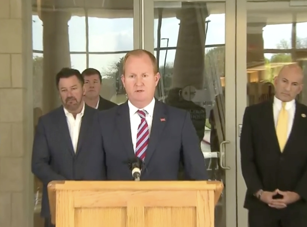 Frisco Mayor Jeff Cheney speaks during a news conference March 24 on Collin County's stay-at-home order for residents. (Screenshot courtesy of CBS DFW News)