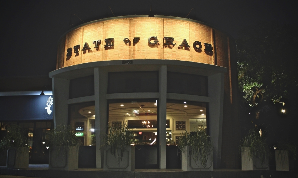 Chef Ford Fry's State of Grace, 3258 Westheimer Road, Houston, what would otherwise be a popular Friday night dinner destination, sits vacant on the evening of March 20. (Matt Dulin/Community Impact Newspaper)
