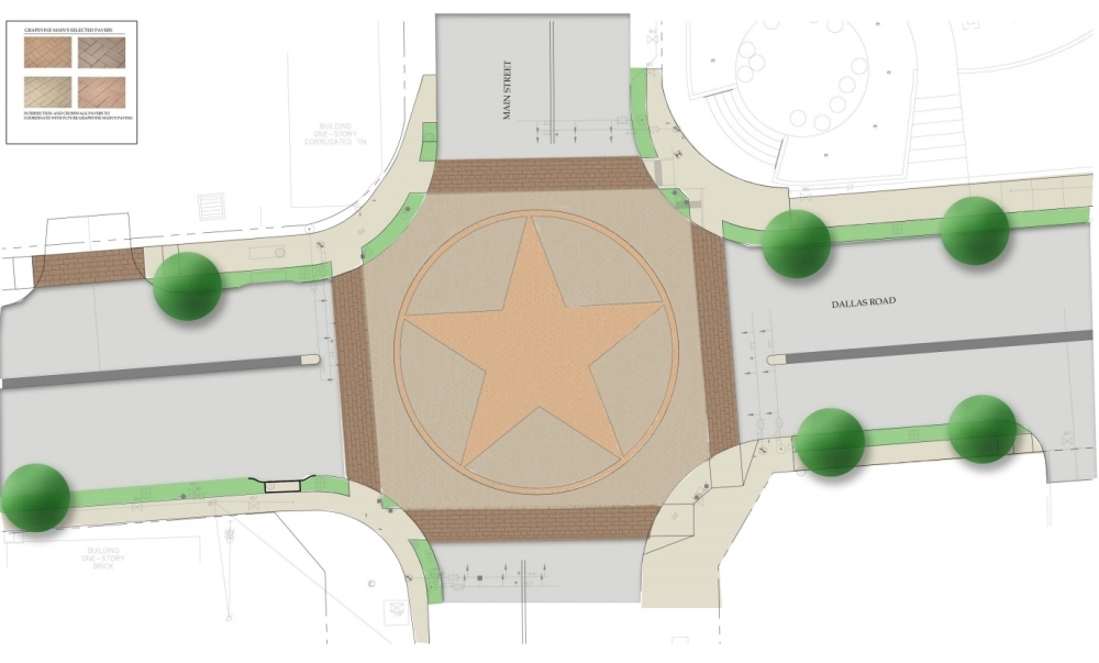 This rendering shows what the Dallas Road and Main Street intersection will look like once construction is finished. (Rendering courtesy city of Grapevine)
