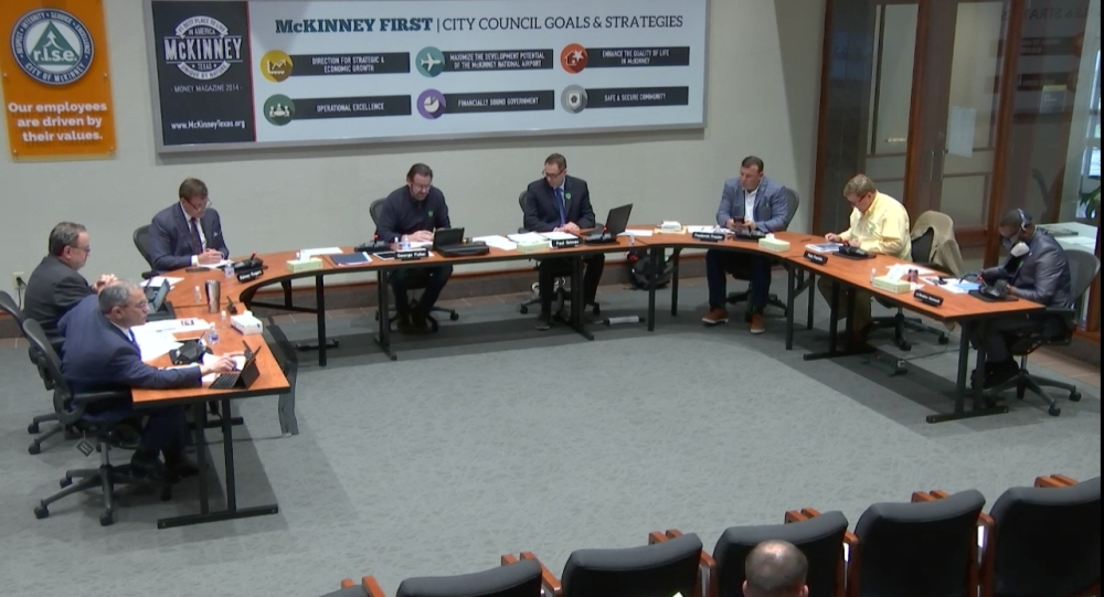 City Council members meet to discuss city policy regarding coronavirus in McKinney. (courtesy city of McKinney)