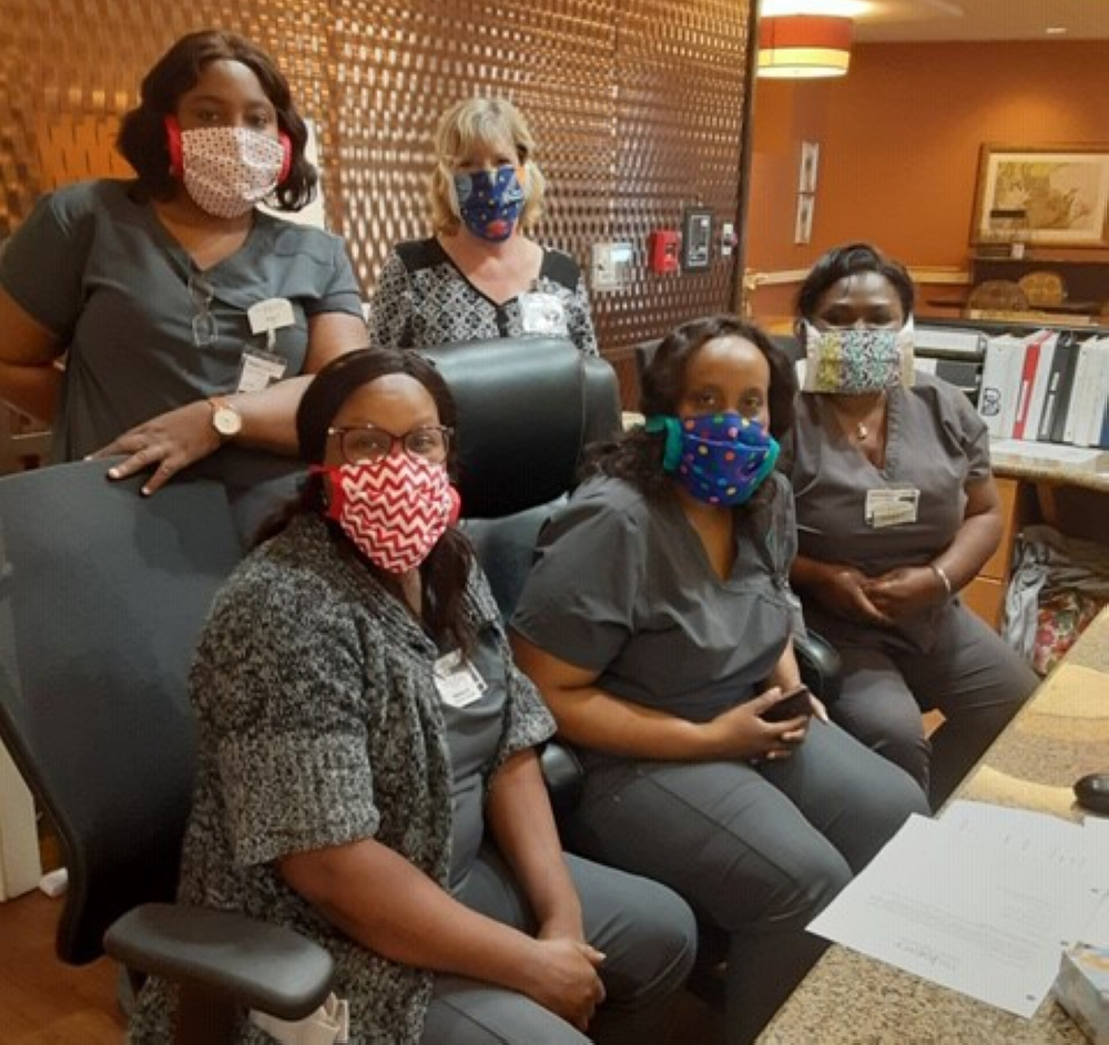 The Legacy Willow Bend staff members wear their homemade masks. (Courtesy The Legacy Willow Bend)