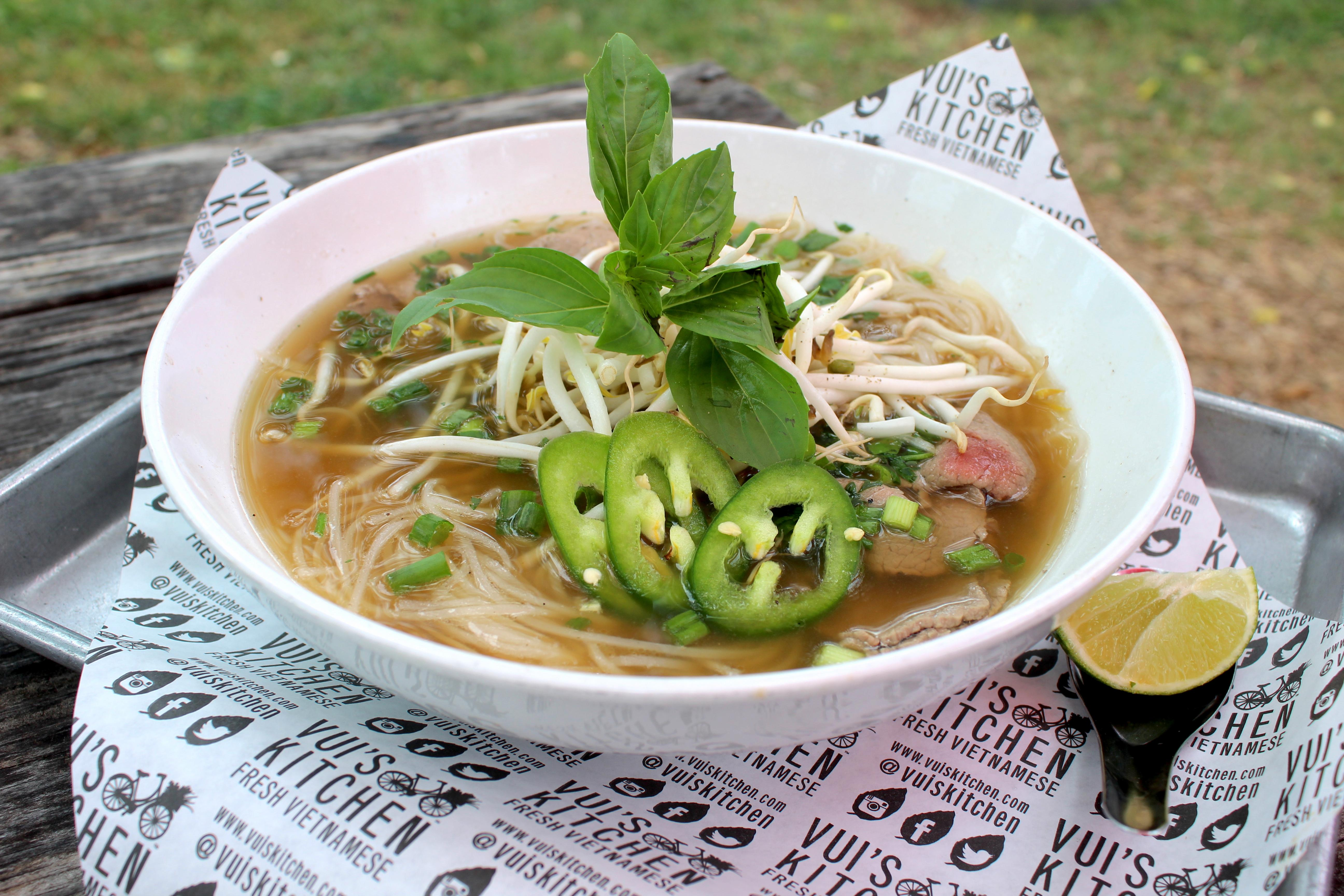 The pho at Vui's Kitchen is made with bone broth simmered for 12 hours. (Dylan Skye Aycock/Community Impact Newspaper)
