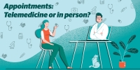 Telemedicine appointments include COVID-19 evaluations, primary care appointments, prescription refills or chiropractic care. (Graphic illustration by Shelby Savage/Community Impact Newspaper)