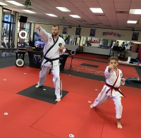 Matthew Bertling teaches a virtual class with his daughter Adryn. (Courtesy Valor Martial Arts)