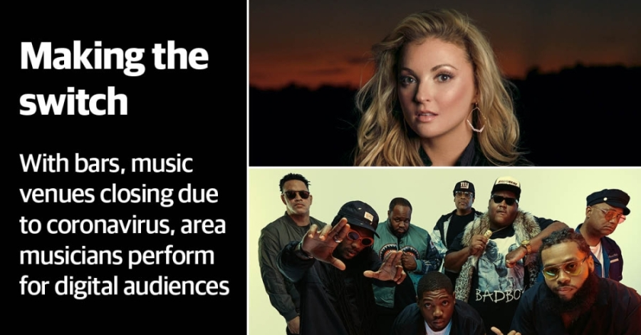 Karen Waldrup (top) and The Soul Rebels (bottom) both had to cancel shows scheduled in Houston due to coronavirus. (Photo illustration by Justin Howell/Community Impact Newspaper)