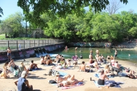 Despite heavy restrictions on public gatherings in place, sizable crowds gathered March 24 on the free side of Barton Springs pool, just hours before Austin's stay-at-home order went into effect. (Christopher Neely/Community Impact Newspaper)