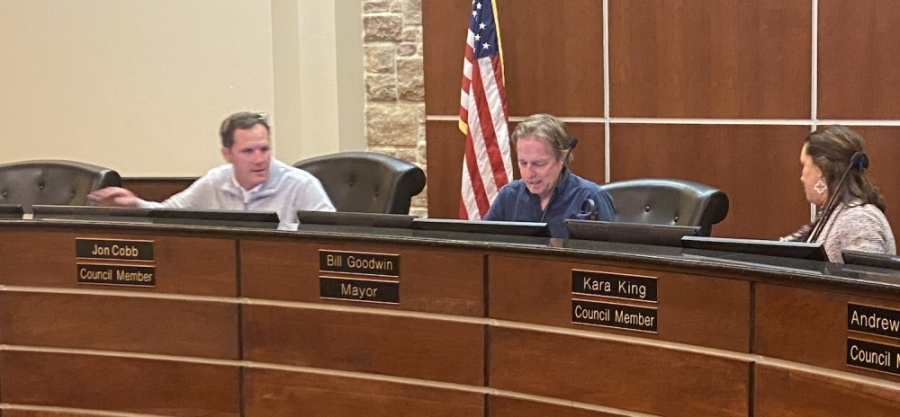 Mayor Pro Tem Bill Goodwin, center, and Council Member Jon Cobb, left, resigned their posts during a March 28 City Council meeting. Council Member Kara King, right, is now mayor elect of Bee Cave. (Brian Rash/Community Impact Newspaper)