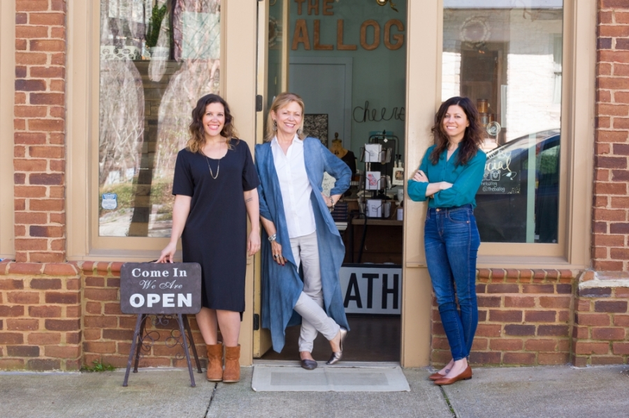 Kelsey Edwards (left), Kathy Edwards (middle) and Lindsay Edwards (right) opened The Ballog in Alpharetta—the store's second location—in October 2018; however, the brick and mortar storefront is temporarily closed until further notice due to the ongoing coronavirus pandemic. They launched the store's website March 25 to keep sales going. (Photo by Lacey Sombar)