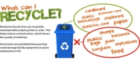 Since more residents have started staying home in the midst of the COVID-19 outbreak, Republic Services has seen a rise in recycling contamination. Above is a guide of what residents can and cannot recycle. (Chase Autin/Community Impact Newspaper)