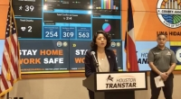 "Harris County Judge Lina Hidalgo provided updates on the county's ""Stay Home-Work Safe"" order at a March 30 press conference. (Screenshot via Harris County)"