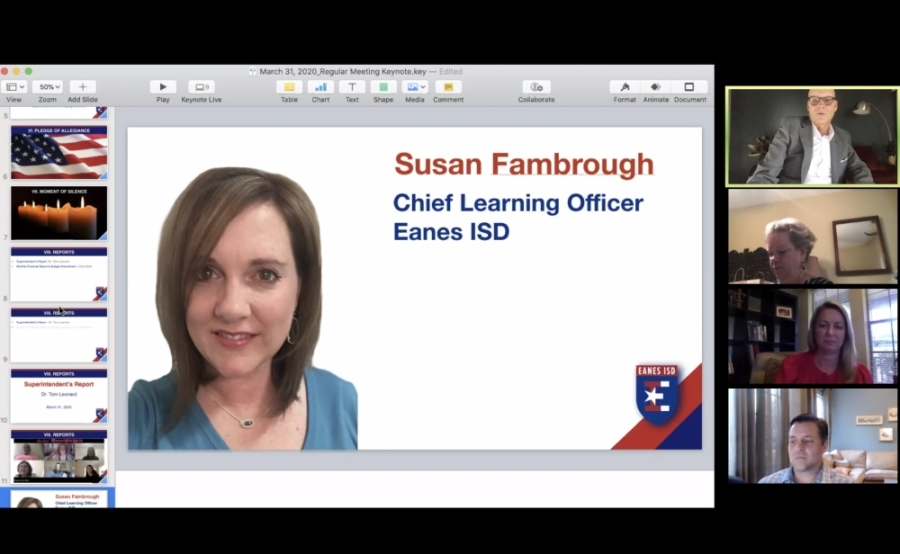 The board met virtually March 31 to name Susan Fambrough as the new chief learning officer. (Courtesy Eanes ISD)