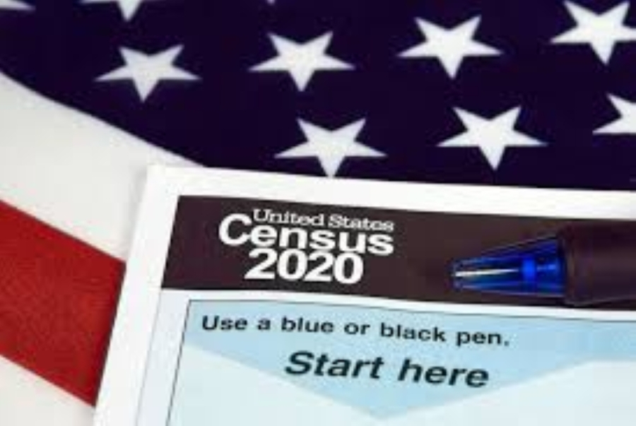 A photo of a census mailer laid out on the American flag