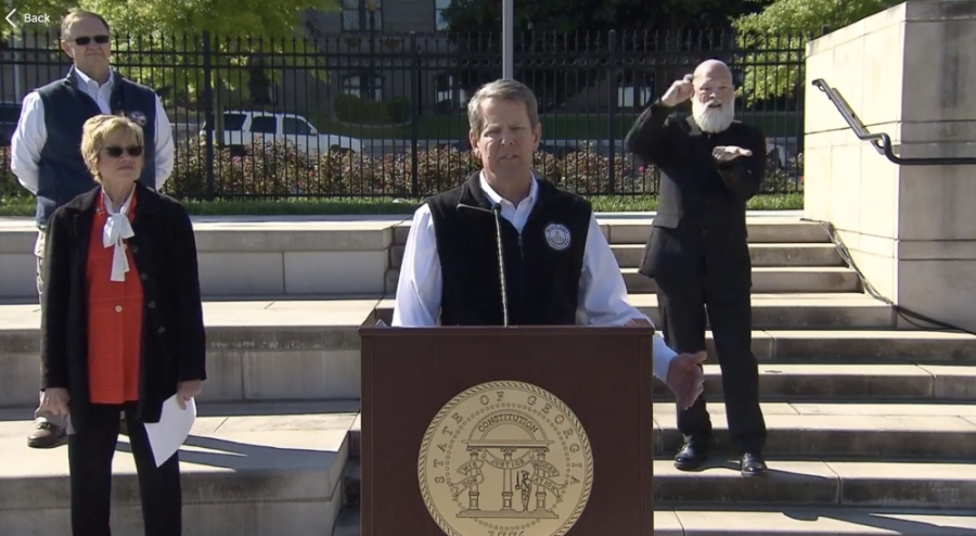 Gov. Brian Kemp announced a statewide shelter in place order beginning April 3 through April 13, and announced the closure of all K-12 public schools through the rest of the school year. (Screenshot via Facebook Live)