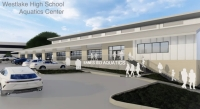The district reviewed renderings for the new district's new aquatics center, set to open in the 2021-22 school year. (Rendering courtesy Eanes ISD)