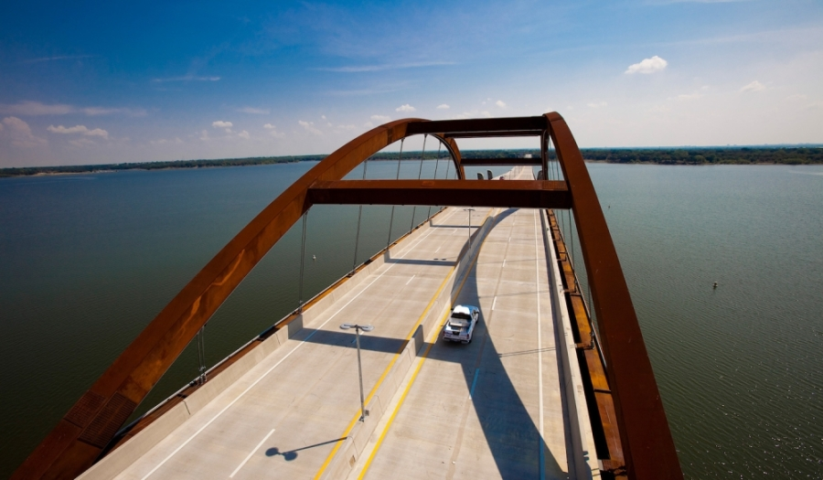 Normally crowded toll roads, such as the Lewisville Lake Toll Bridge, are experiencing a decline in the number of motorists, according to data from the North Texas Tollway Authority. (Courtesy NTTA)