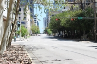Fifth Street in Austin sits empty March 25 after the city and county enacted stay-at-home orders to encourage social distancing and prevent the spread of the coronavirus in the community. (Christopher Neely/Community Impact Newspaper)
