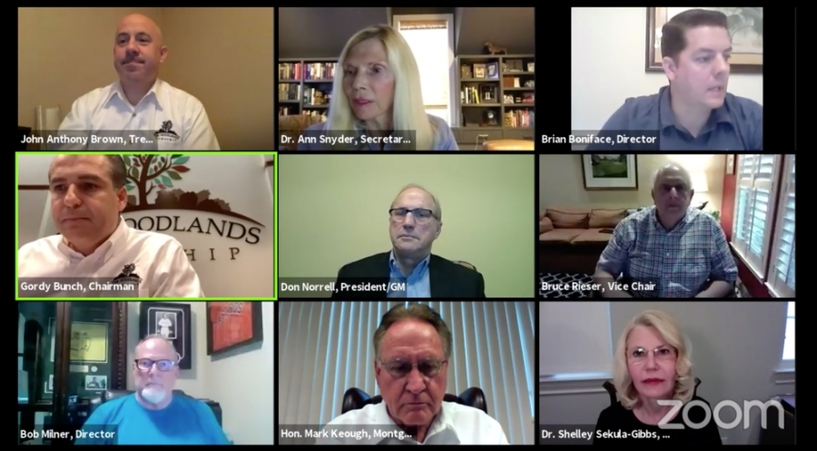 The Woodlands Township board of directors met via video conference for a special meeting April 2. (Screenshot via The Woodlands Township)