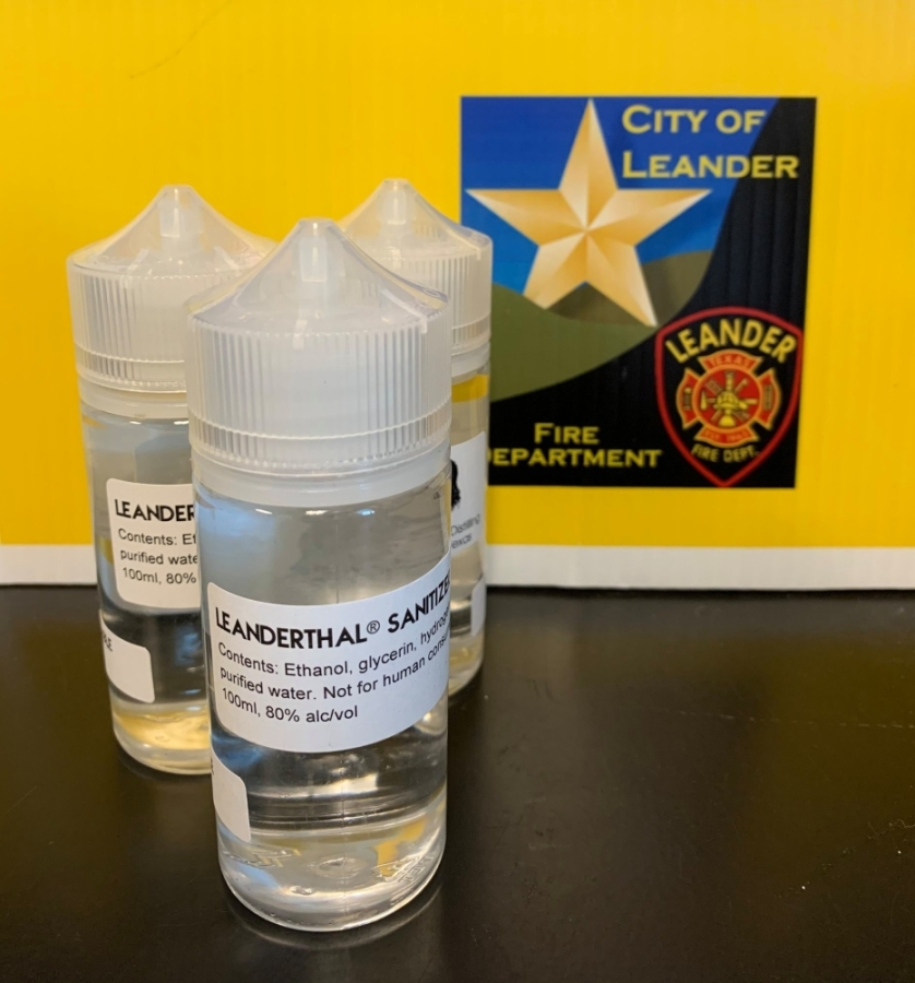 Leanderthal Distilling, a Leander distillery, donated 300 bottles of hand sanitizer to Leander first responders. (Courtesy Leander Fire Department)