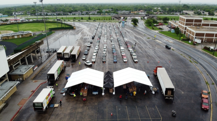 The Central Texas Food Bank served 1,515 households free food at an event April 4 at Nelson Field in northeast Austin. (Courtesy Central Texas Food Bank)