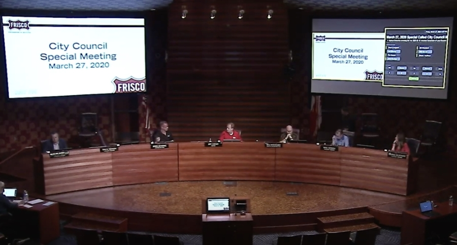 During a special meeting on March 24, Frisco City Council members were spread out on the dias. (Screenshot courtesy city of Frisco)