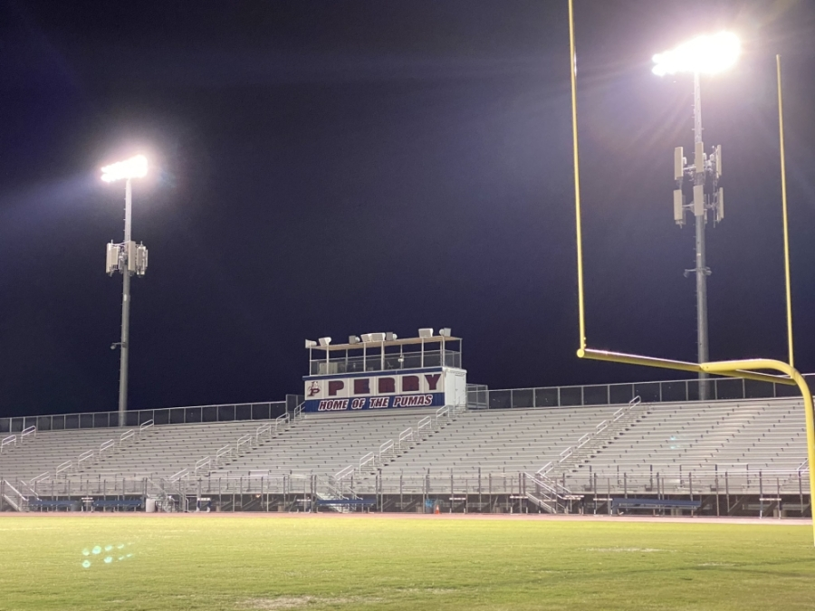Perry High School, a Chandler USD school in Gilbert, is turning on its stadium lights nightly to celebrate the senior class. (Courtesy Perry High School)
