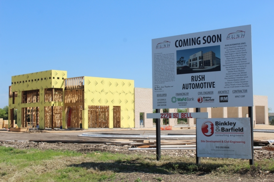 Rush Automotive in Leander is scheduled to open this year. (Brian Perdue/Community Impact Newspaper)