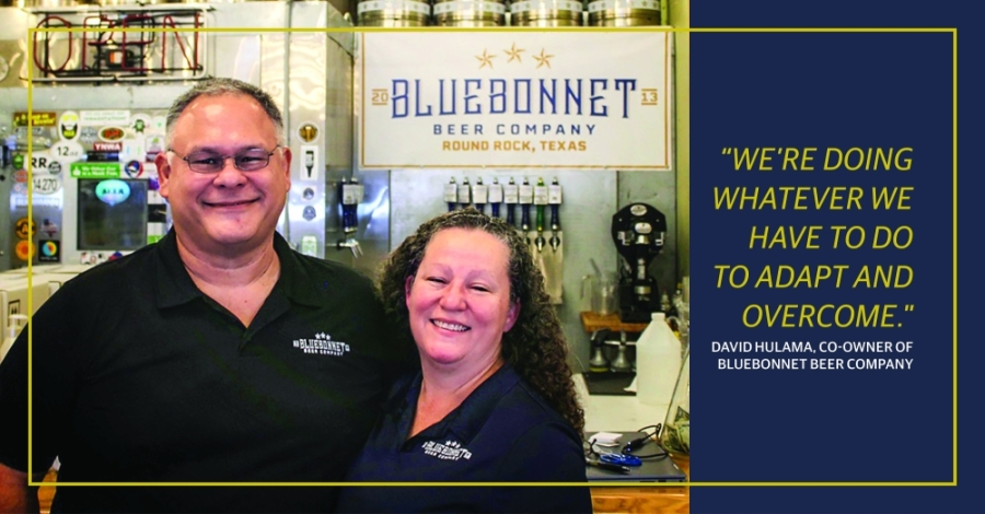 David and Clare Hulama, co-owners of Bluebonnet Beer Co. in Round Rock, are selling beer to go and hand sanitizer amid coronavirus restrictions. (Taylor Jackson Buchanan/Community Impact Newspaper)