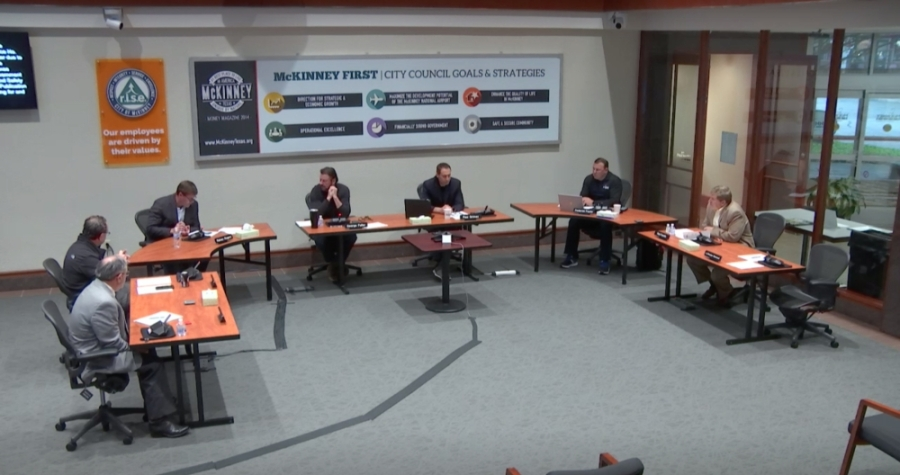 McKinney City Council convened for a meeting April 3. (Screenshot via video)