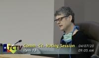 A screen shot of Sarah Eckhardt at a meeting