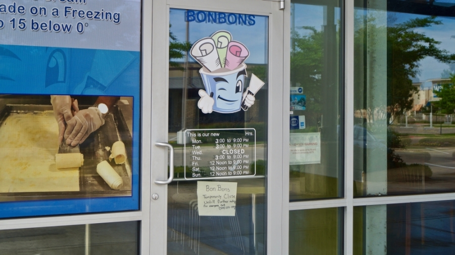 The shop, which sells Thai rolled ice cream, frozen yogurt and specialty drinks, has not announced a reopening date. (Kelsey Thompson/Community Impact Newspaper)