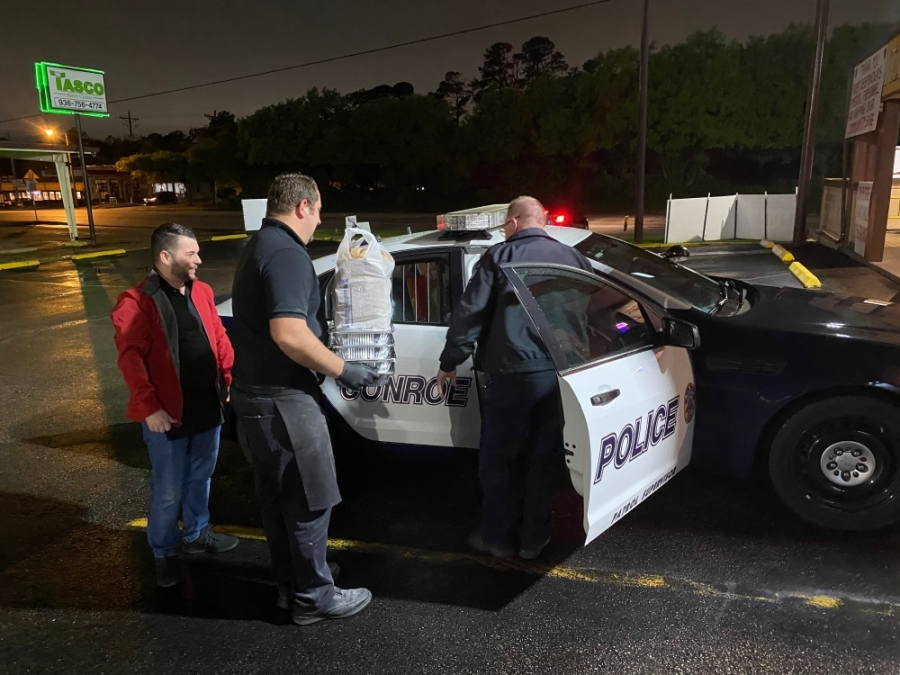 Staff from Joe's Italian Restaurant has been donating meals to various Montgomery County departments and first responders, including the Conroe Police Department. (Courtesy Joe Haliti)