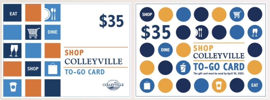 The city of Colleyville mailed out the first round of gift cards in March, seen on the left, and is conceptualizing what the second gift card will look like, which is seen on the right. (Courtesy city of Colleyville)