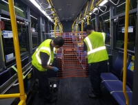 Installing orange meshes across local buses is one of the measures METRO is taking to ensure appropriate social distancing between bus operators and passengers. (Courtesy Metropolitan Transit Authority of Harris County)