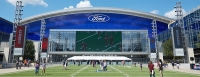 Dallas Cowboys spokesperson Joe Trahan said the team will be participating in the #LightItBlue initiative on the video board outside the Ford Center at The Star in Frisco. (Lindsey Juarez Monsivais/Community Impact Newspaper)
