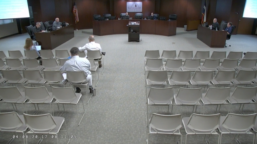 The Shenandoah City Council's April 8 regular meeting was closed to the public and broadcast live online. (Screenshot via YouTube)