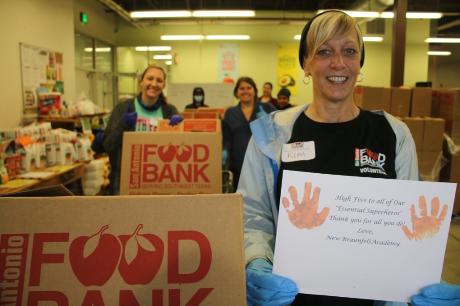 Volunteers prepare boxes of food for community members in New Braunfels. (Courtesy New Braunfels Food Bank)