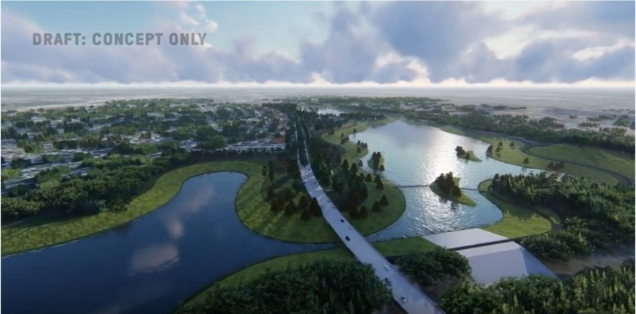 According to HCFCD, the video is conceptual and represents only one option among many for the basin, and the final design of the project will include input and refinement from both engineers and the public. (Rendering courtesy Harris County Flood Control District)