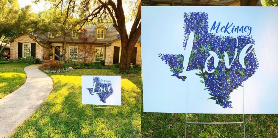 """When McKinney resident Erin Medina walked outside to water her plants this week, she was surprised to see a sign that said """"McKinney Love"""" on her front lawn. (Courtesy Erin Medina)"""