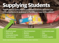 The Plano ISD Education Foundation is requesting financial contributions to help restock its shelves with school supplies for area families. (Graphic by Chase Autin/Community Impact Newspaper)