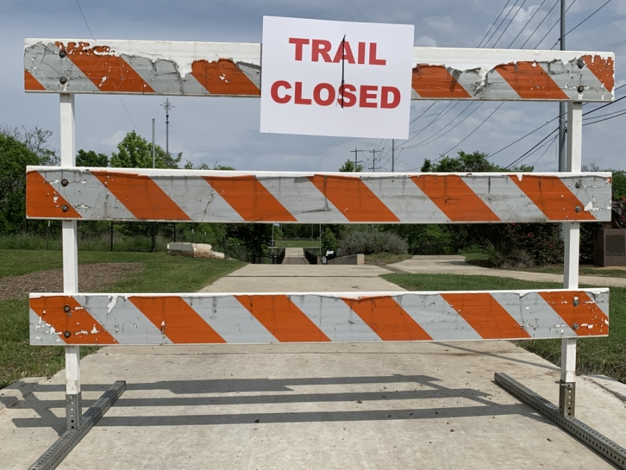 All trails and parks will be closed in San Marcos until Monday morning. The riverfront parks will remain closed until May 11. (Joe Warner/Community Impact Newspaper)