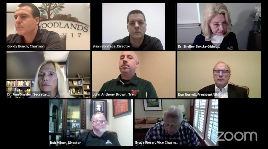 The Woodlands Township board of directors discussed the township's continuing response to the coronavirus at a special meeting April 8. (Screenshot via The Woodlands Township)