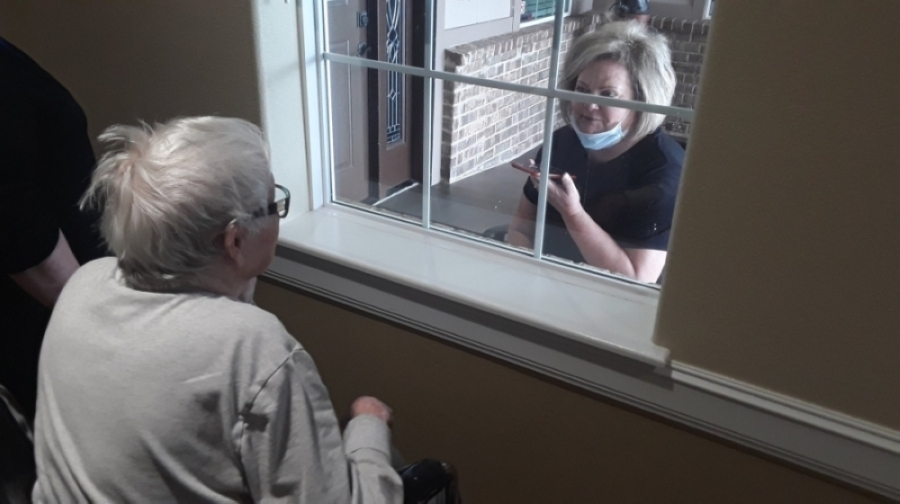 Should residents living at New Haven Assisted Living in Spring need more than virtual conversations over digital platforms, families can also visit their loved ones through residents' windows and speak by phone. (Courtesy New Haven Assisted Living in Spring)