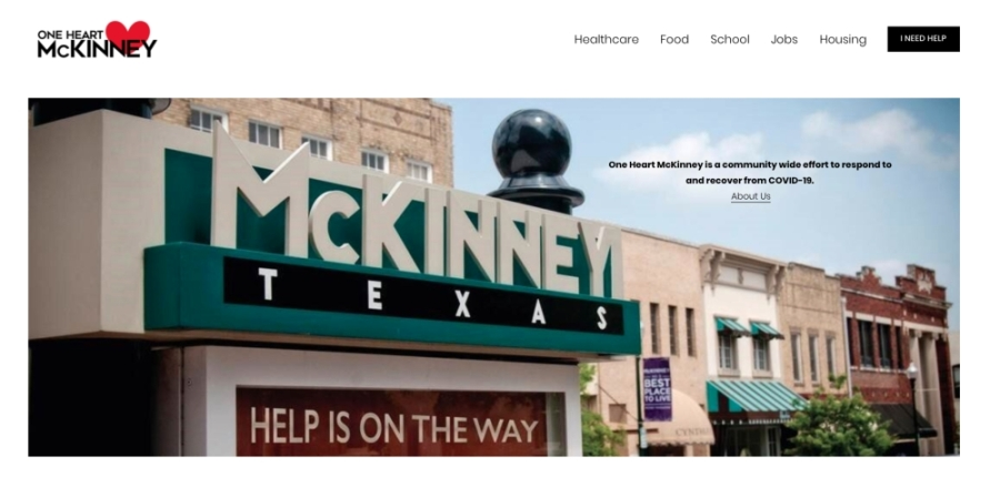 One Heart McKinney is a new website designed to help bring resources during the COVID-19 pandemic in a central location. (Screenshot by Miranda Jaimes/Community Impact Newspaper)
