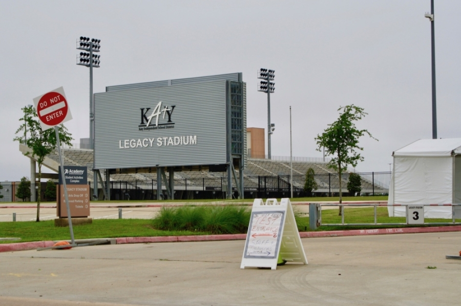 Katy ISD's Legacy Stadium is a drive-thru coronavirus testing site. Patients can only get tested if they are screened first and receive a code with instructions to go to the location. (Jen Para/Community Impact Newspaper)