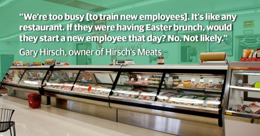 Never before has Hirsch's Meats seen so much business and been so underequipped to meet the demand, its owner said. (Courtesy Hirsch's Meats; Illustration by Chase Autin/Community Impact Newspaper)