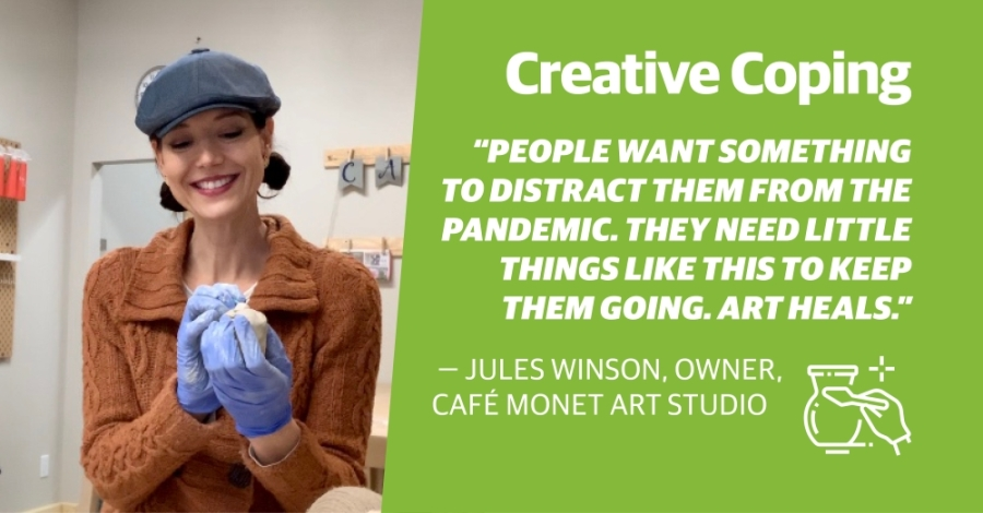 """Café Monet owner Jules Winson said the community has responded well to the new ideas Café Monet has introduced to keep business alive, including to-go pottery painting kits, art lesson plans for kids and """"Heart Kits for Heroes""""—a program in which customers can buy health care workers a pottery painting kit. (Courtesy Café Monet Art Studio)"""