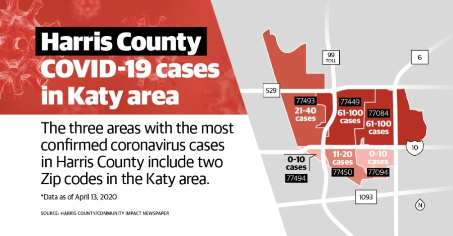 Harris County ZIP codes 77449, 77084 and 77088 have the highest numbers of confirmed cases of the coronavirus in the county, per April 11 data. (Anya Gallant/Community Impact Newspaper)
