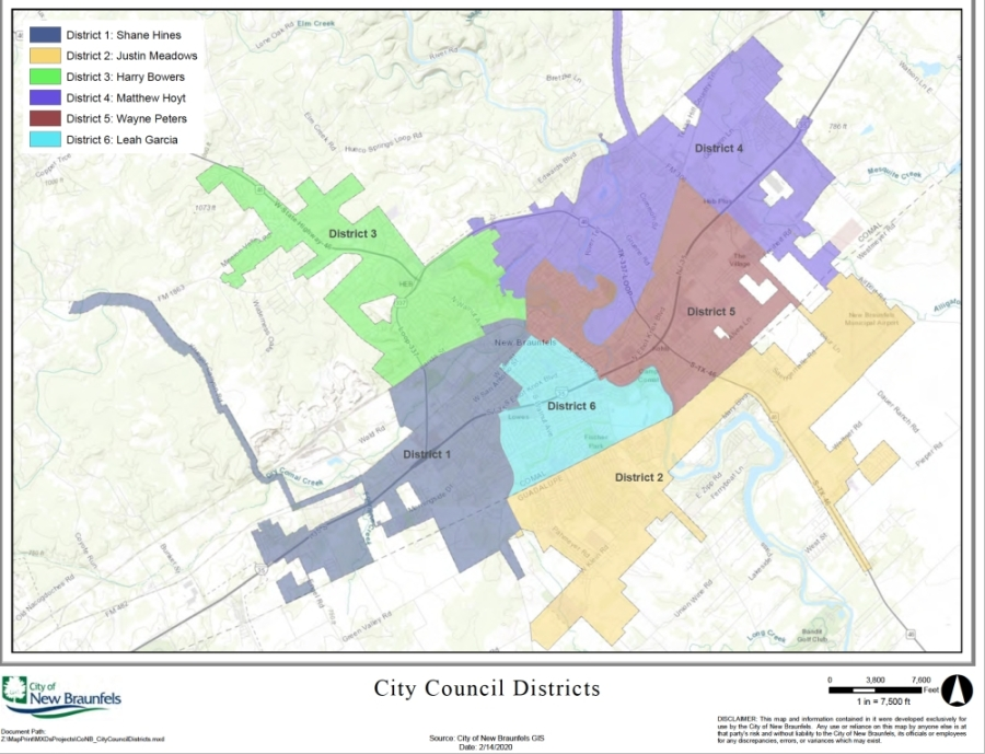 The New Braunels City Council district map can help residents identify which forum they should join. (Courtesy city of New Braunfels)