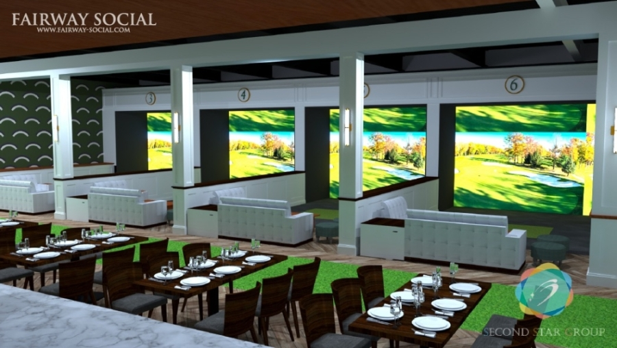 Fairway Social will feature seven sports simulators with more than 80 notable golf courses as well as other sports. (Rendering courtesy Sports Community Consultants)