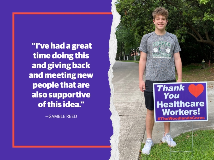 High school sophomore Gamble Reed started The Woodlands Cares initiative supporting health care workers and the food pantry at Interfaith of The Woodlands. (Courtesy The John Cooper School)